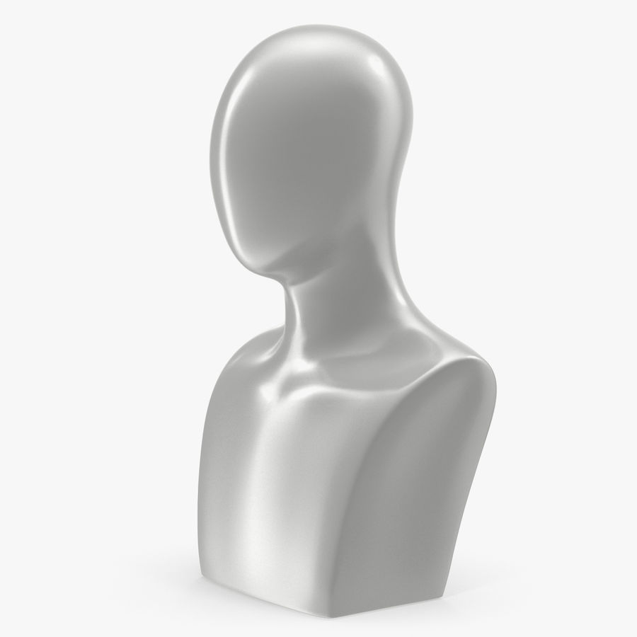 White Egghead Male Display Head royalty-free 3d model - Preview no. 1