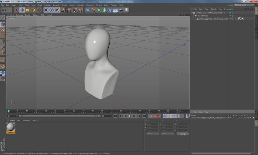 White Egghead Male Display Head royalty-free 3d model - Preview no. 11