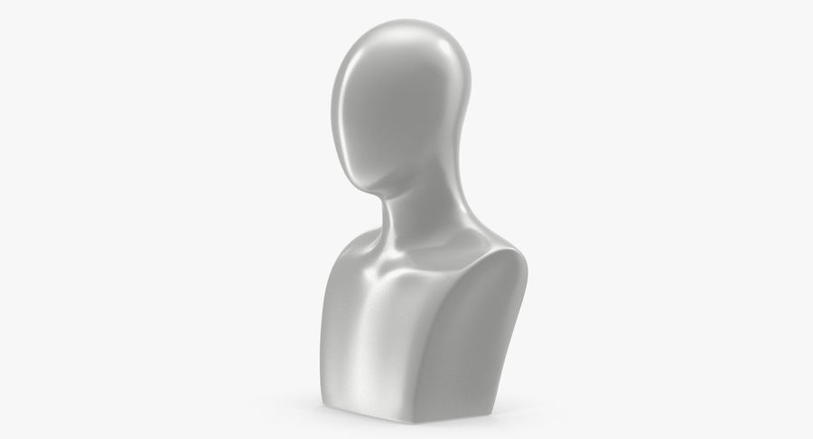 White Egghead Male Display Head royalty-free 3d model - Preview no. 2