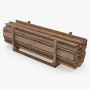 Viejo modelo 3D de almacenamiento de tablones arbolados modelo 3d