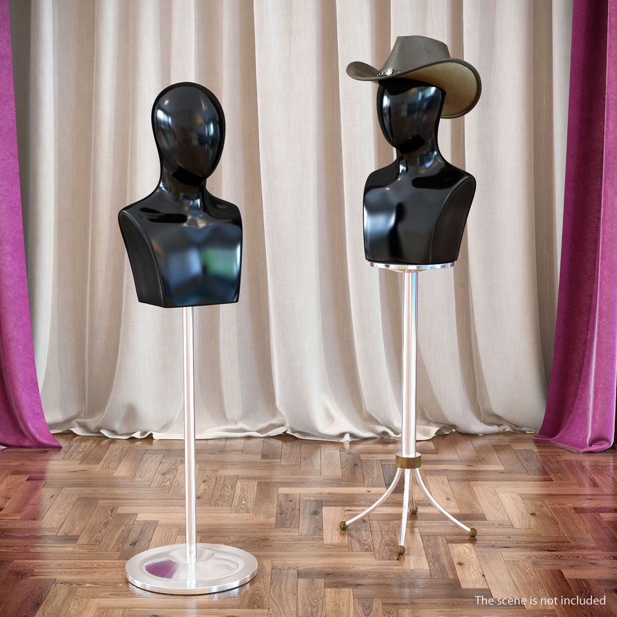 Siyah Plastik Egghead Erkek Ekran Başlığı 3D Model royalty-free 3d model - Preview no. 3