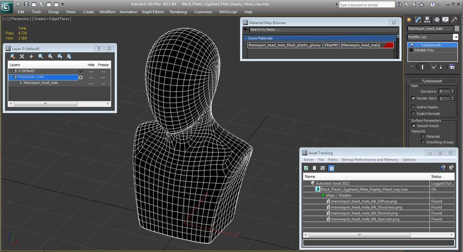 Siyah Plastik Egghead Erkek Ekran Başlığı 3D Model royalty-free 3d model - Preview no. 12