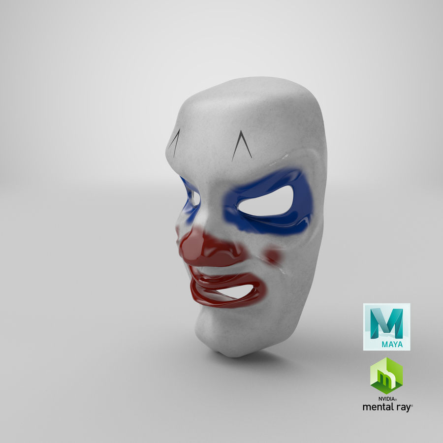 Smiley Clown Mask royalty-free 3d model - Preview no. 13