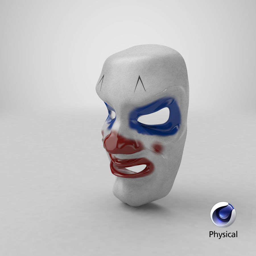 Smiley Clown Mask royalty-free 3d model - Preview no. 16