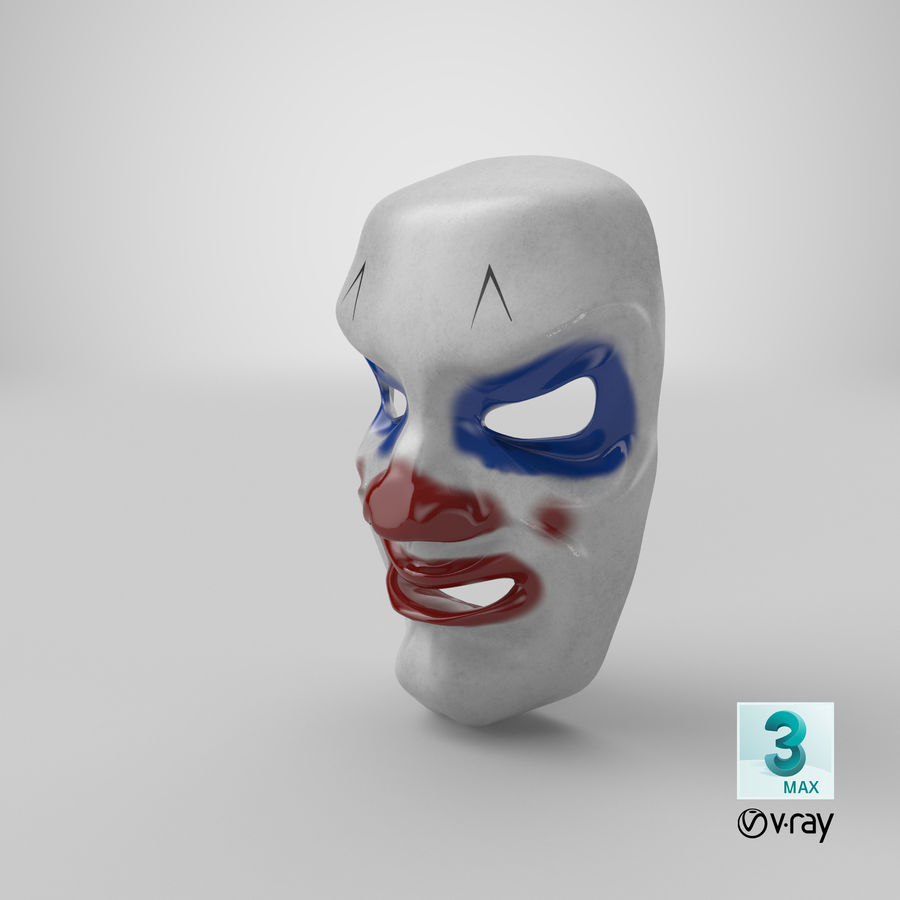 Smiley Clown Mask royalty-free 3d model - Preview no. 14