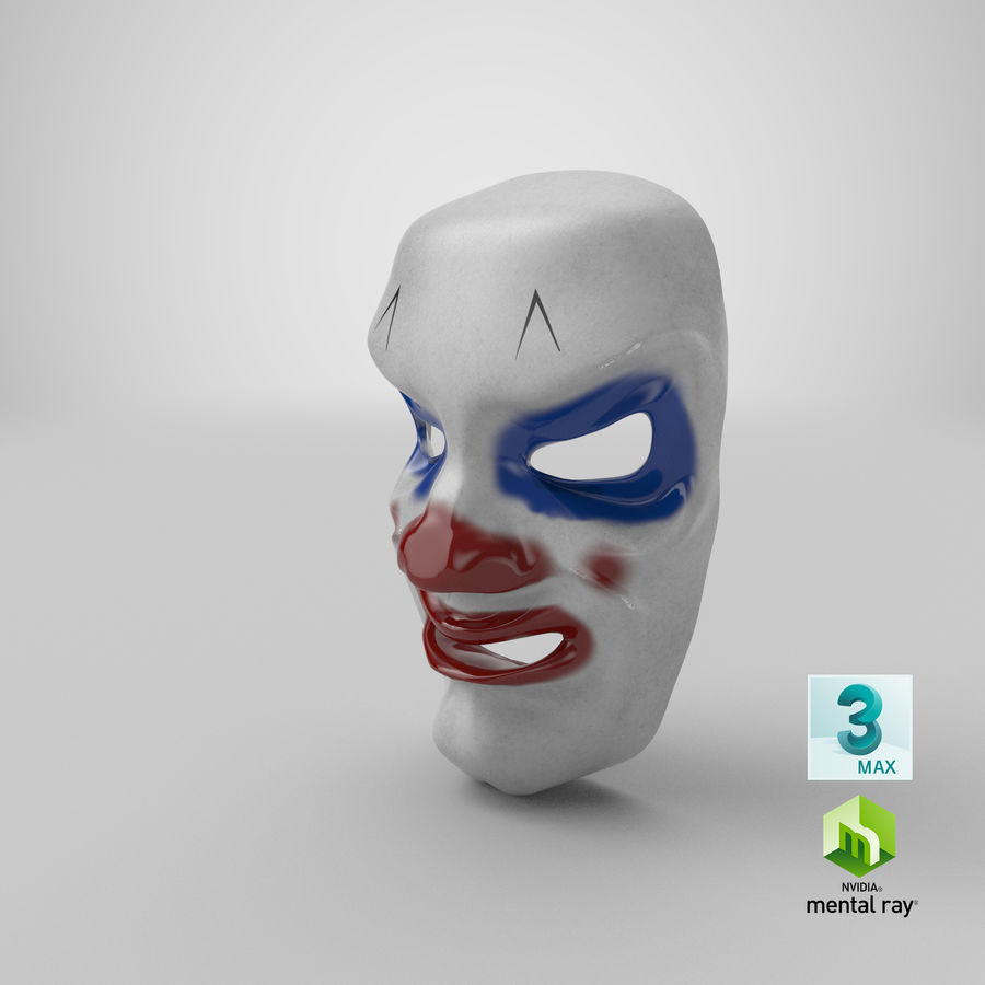 Smiley Clown Mask royalty-free 3d model - Preview no. 15