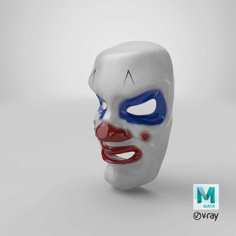 Smiley Clown Mask royalty-free 3d model - Preview no. 12