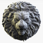 Lion head Sculpture bas-relief for cnc 3d model