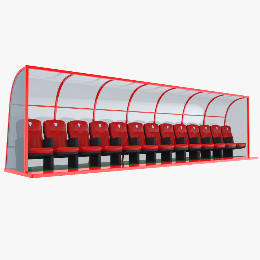 Soccer Bench royalty-free 3d model - Preview no. 1