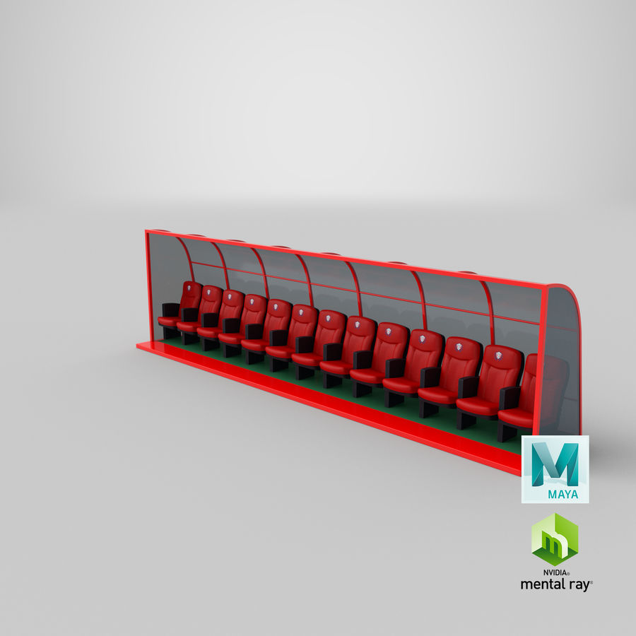 Soccer Bench royalty-free 3d model - Preview no. 20