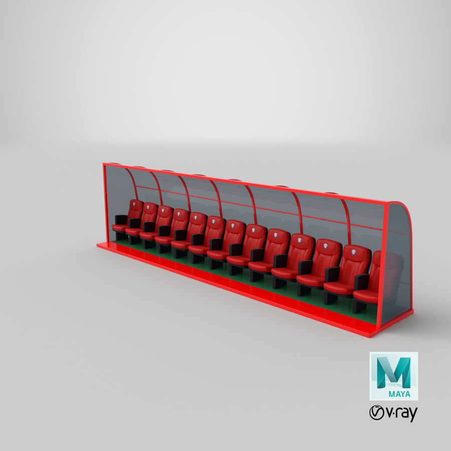 Soccer Bench royalty-free 3d model - Preview no. 19