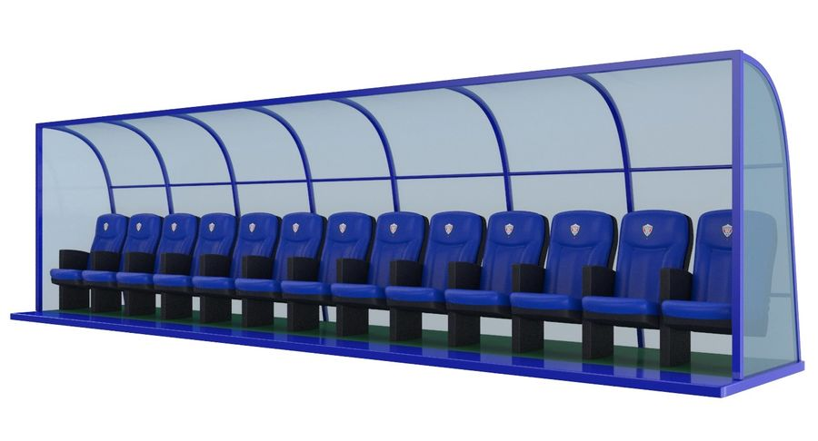 Soccer Bench royalty-free 3d model - Preview no. 5