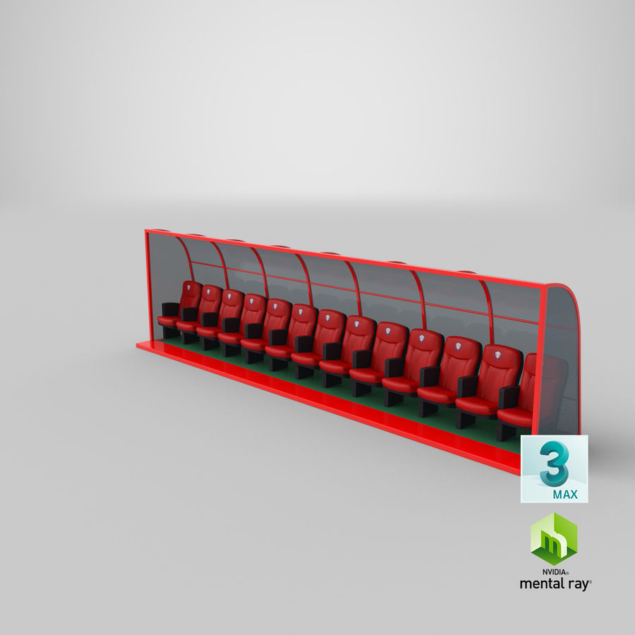 Soccer Bench royalty-free 3d model - Preview no. 22