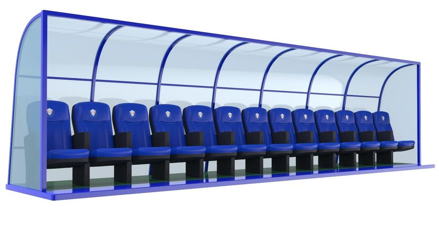 Soccer Bench royalty-free 3d model - Preview no. 3