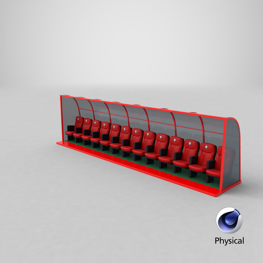 Soccer Bench royalty-free 3d model - Preview no. 23