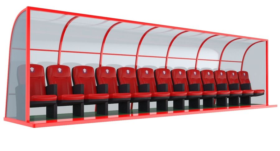 Soccer Bench royalty-free 3d model - Preview no. 2