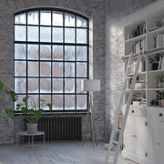 Arc wrinkled glass Old industrial steel tilt window 3d model