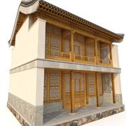 3D中国两层建筑 3d model