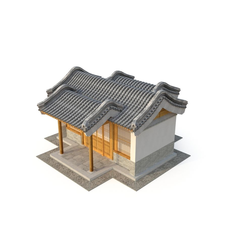 Model 3D Ancient Chinese Architecture Distribution model 05 royalty-free 3d model - Preview no. 4