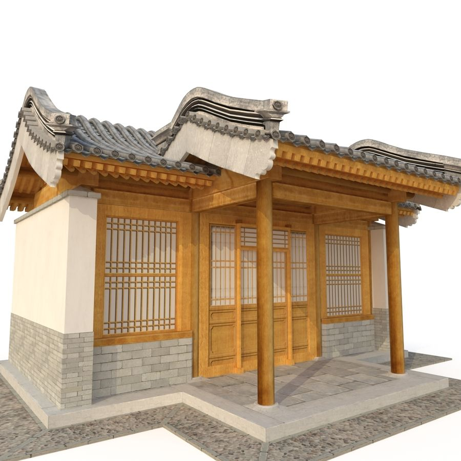 Model 3D Ancient Chinese Architecture Distribution model 05 royalty-free 3d model - Preview no. 1