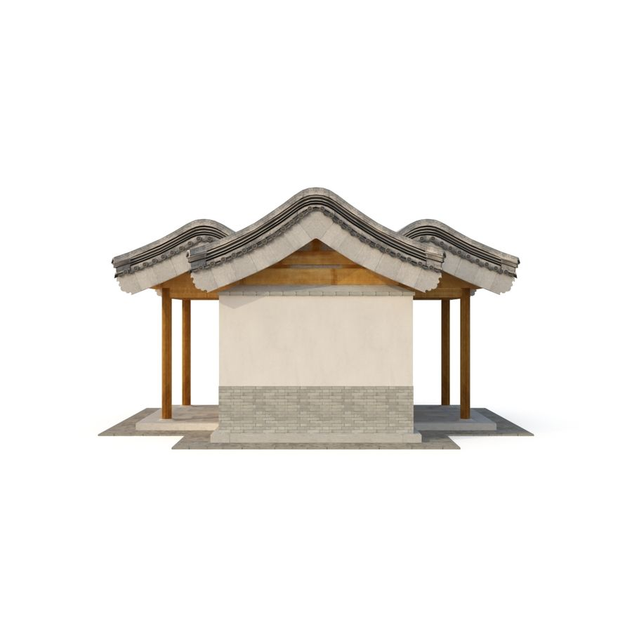 Model 3D Ancient Chinese Architecture Distribution model 05 royalty-free 3d model - Preview no. 6