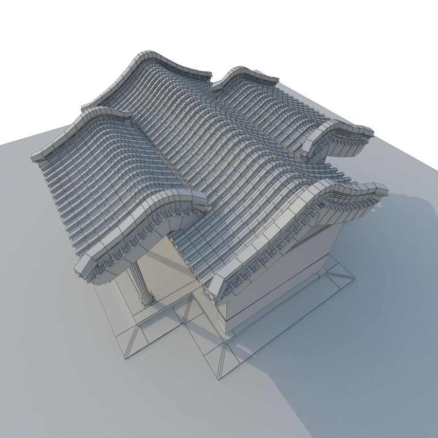 Model 3D Ancient Chinese Architecture Distribution model 05 royalty-free 3d model - Preview no. 11