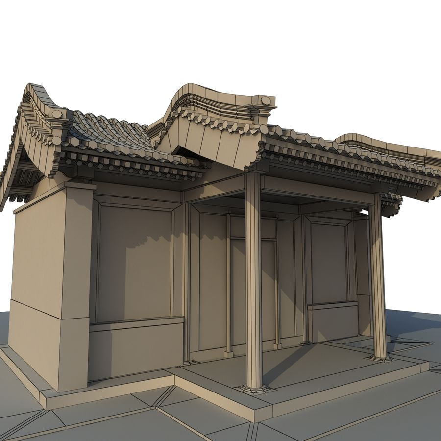 Model 3D Ancient Chinese Architecture Distribution model 05 royalty-free 3d model - Preview no. 10
