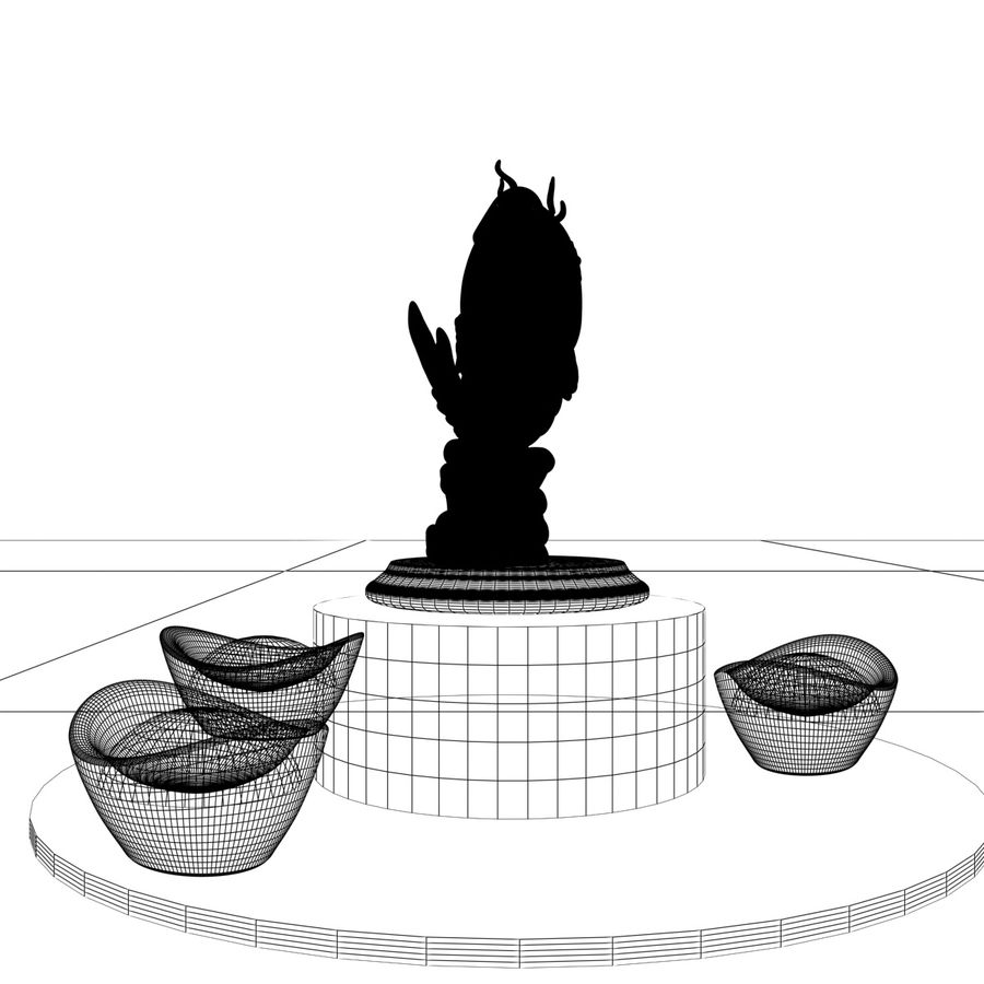 Statue Poisson d'Or royalty-free 3d model - Preview no. 5