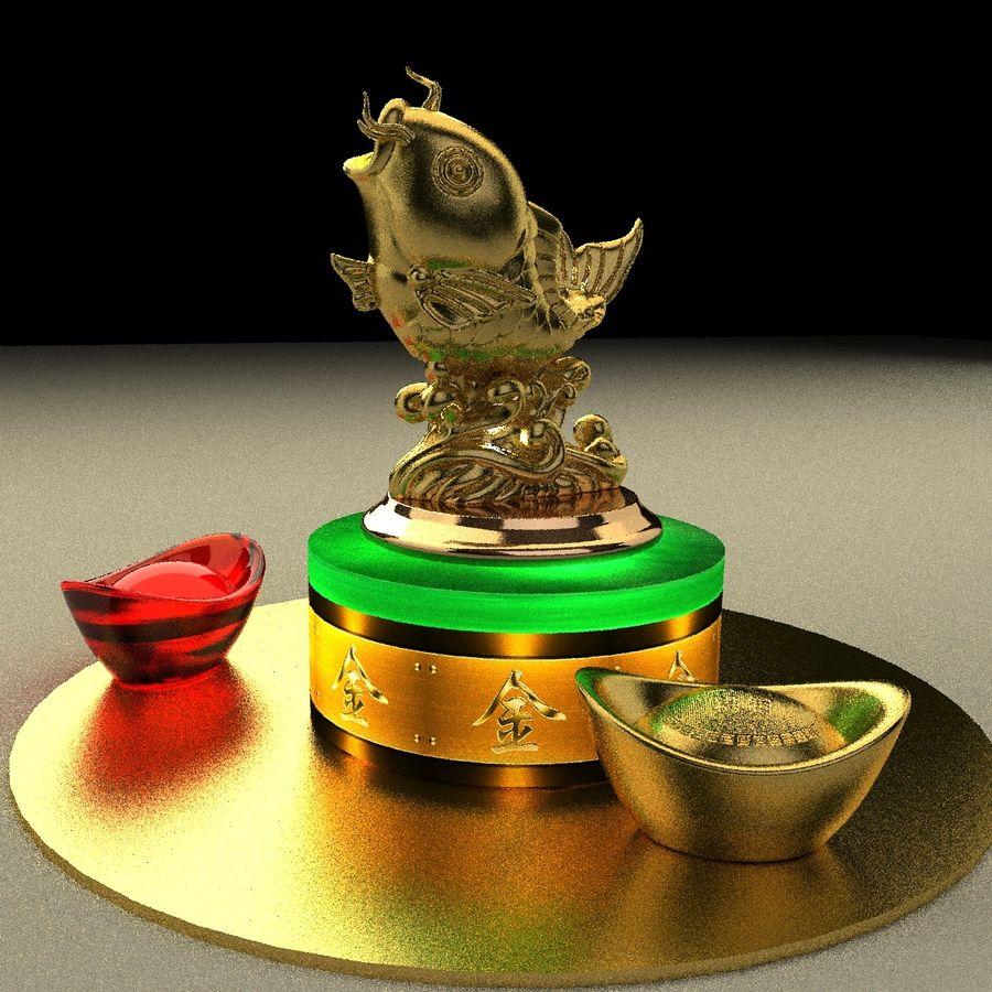 Statue Poisson d'Or royalty-free 3d model - Preview no. 3