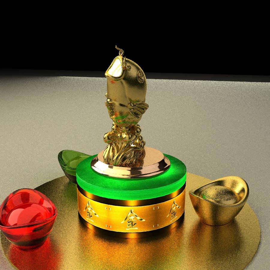 Statue Poisson d'Or royalty-free 3d model - Preview no. 4