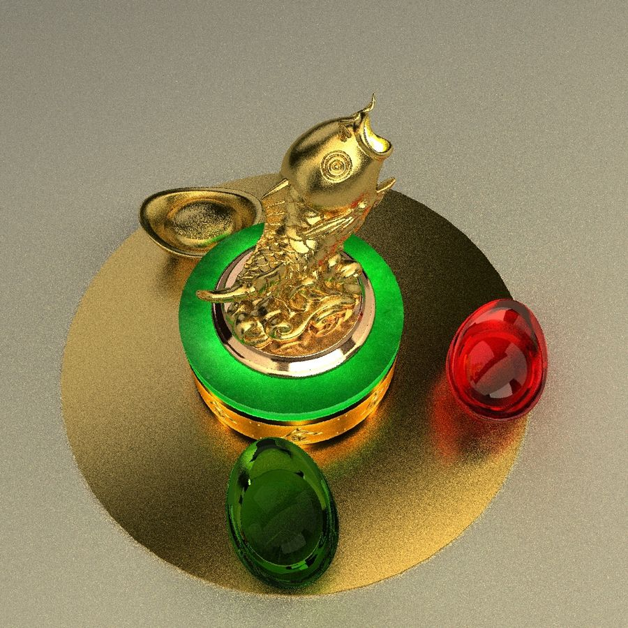 Estatua de pez dorado royalty-free modelo 3d - Preview no. 2