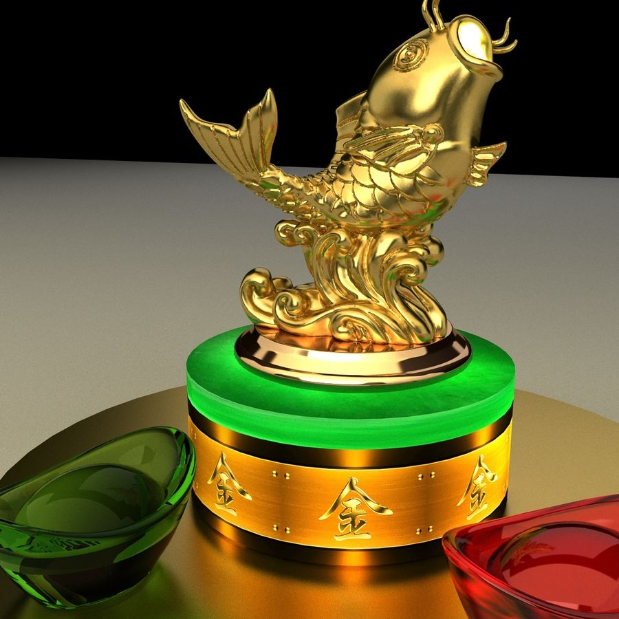 Golden Fish Statue royalty-free 3d model - Preview no. 1