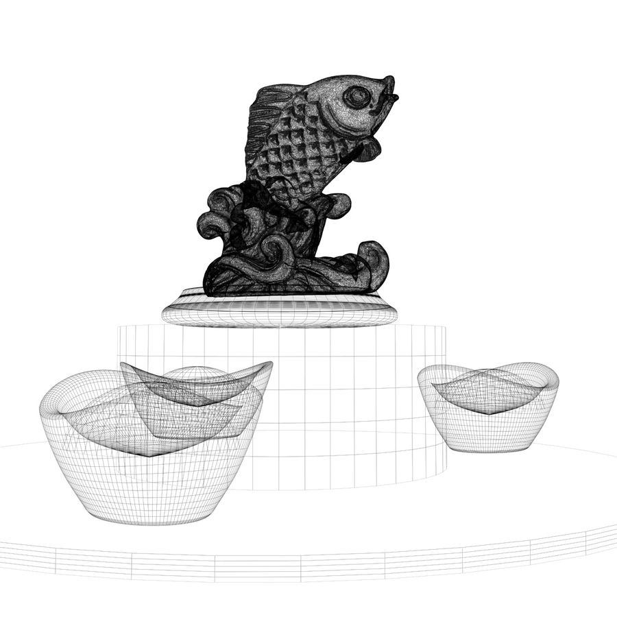 Chinese fish statue royalty-free 3d model - Preview no. 5
