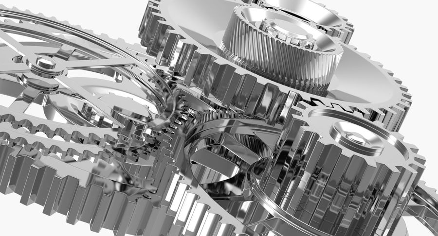 Chrome Uhrwerk royalty-free 3d model - Preview no. 14