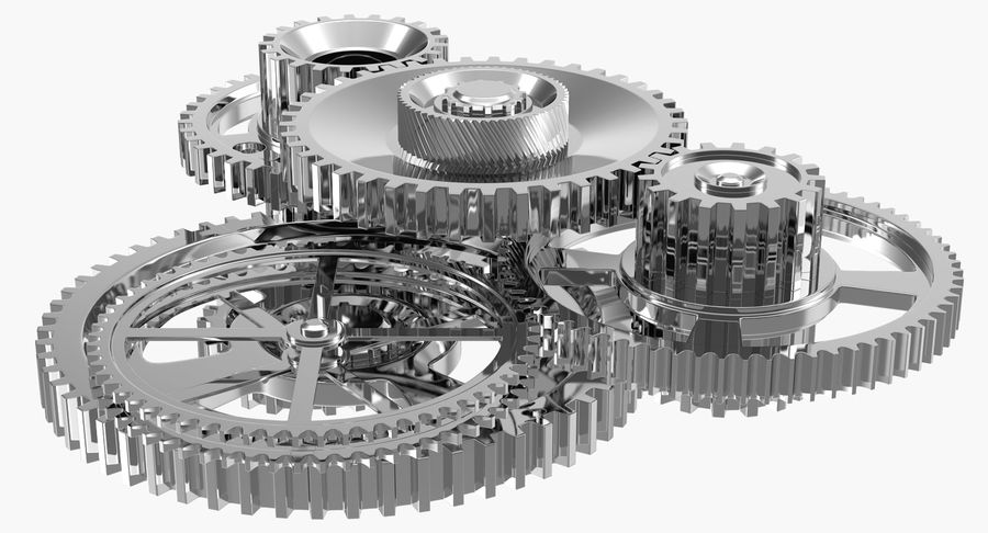 Chrome Uhrwerk royalty-free 3d model - Preview no. 7
