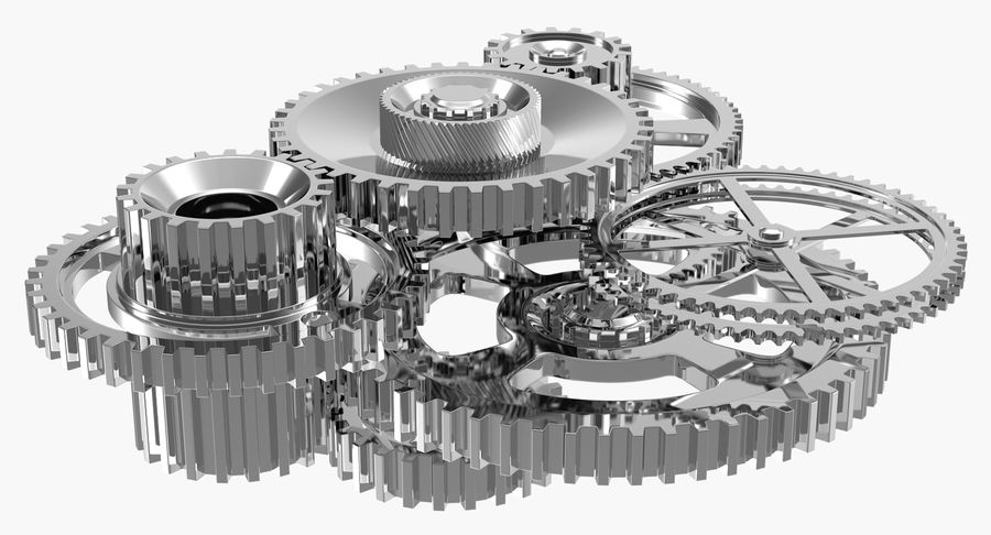Chrome Uhrwerk royalty-free 3d model - Preview no. 8