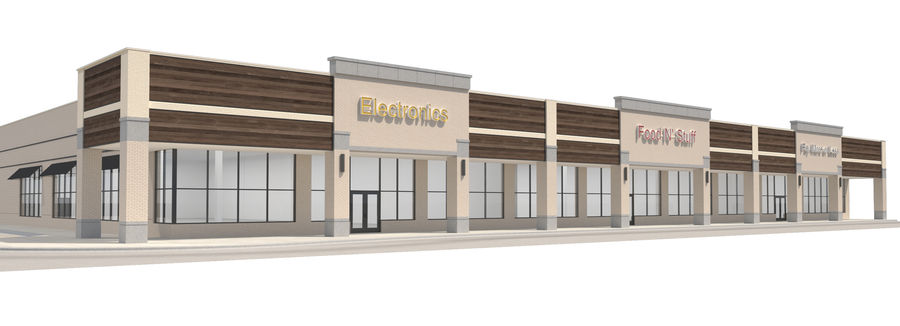 Retail-036 Retail Mall Building royalty-free 3d model - Preview no. 1