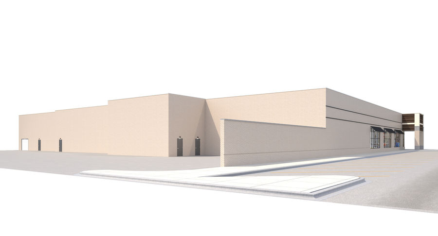 Retail-036 Retail Mall Building royalty-free 3d model - Preview no. 4