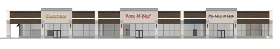 Retail-036 Retail Mall Building royalty-free 3d model - Preview no. 11