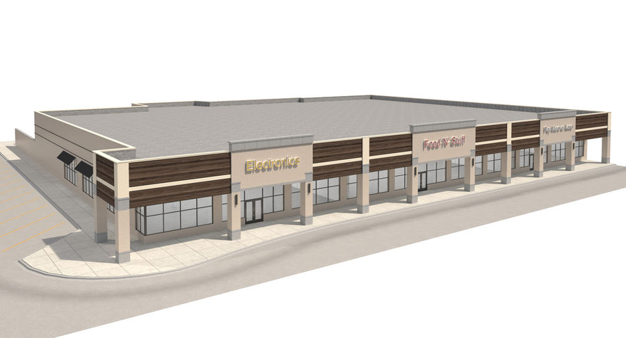 Retail-036 Retail Mall Building royalty-free 3d model - Preview no. 5