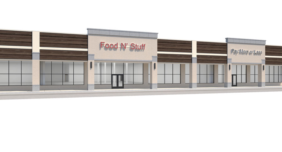 Retail-036 Retail Mall Building royalty-free 3d model - Preview no. 7