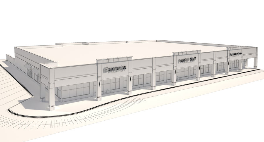 Retail-036 Retail Mall Building royalty-free 3d model - Preview no. 17