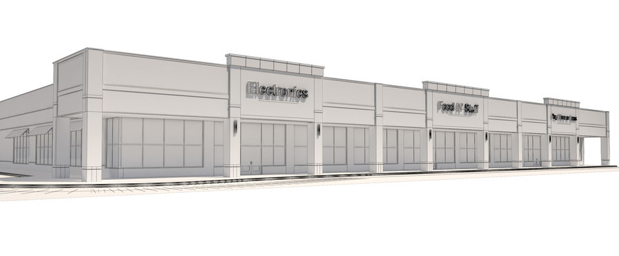 Retail-036 Retail Mall Building royalty-free 3d model - Preview no. 16
