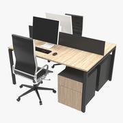 Dual Desk Unit 3d model