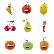 Smiling fruits and veggies collection 3d model