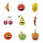 웃는 과일과 채소 모음 3d model