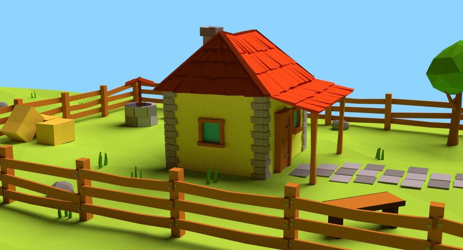 Cartoon Mountain Landscape Scene royalty-free 3d model - Preview no. 5
