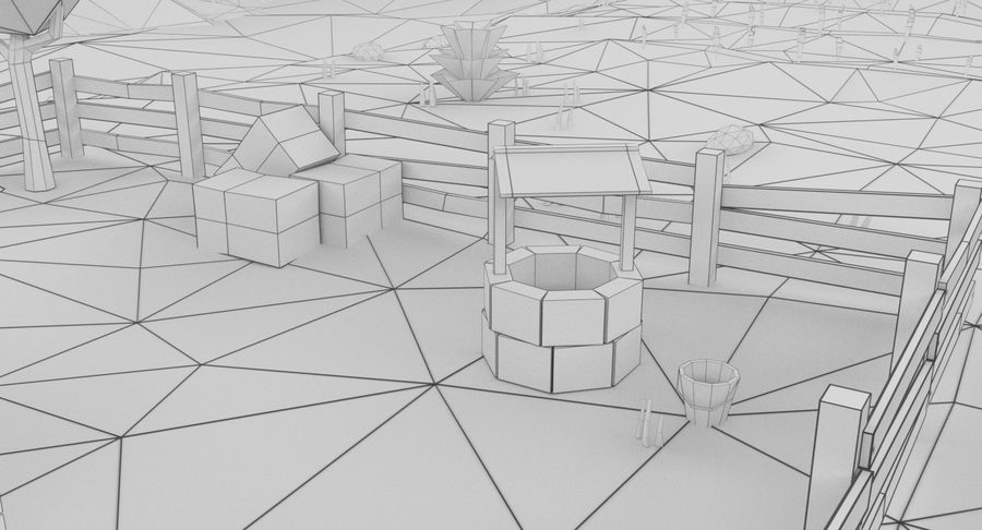 Cartoon Mountain Landscape Scene royalty-free 3d model - Preview no. 19