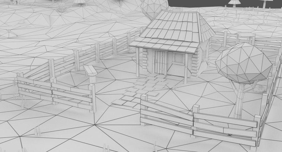 Cartoon Mountain Landscape Scene royalty-free 3d model - Preview no. 17