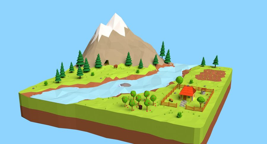 Cartoon Mountain Landscape Scene royalty-free 3d model - Preview no. 2